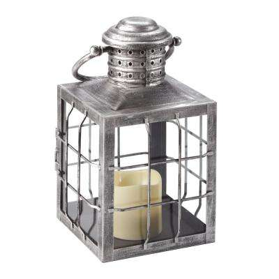 Charles 12 in. Antique Silver LED Candle Lantern