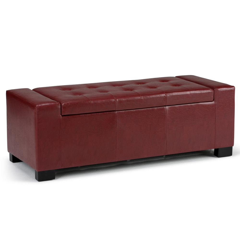 Simpli Home Laredo Radicchio Red Large Storage Ottoman Bench-AXCOT ...