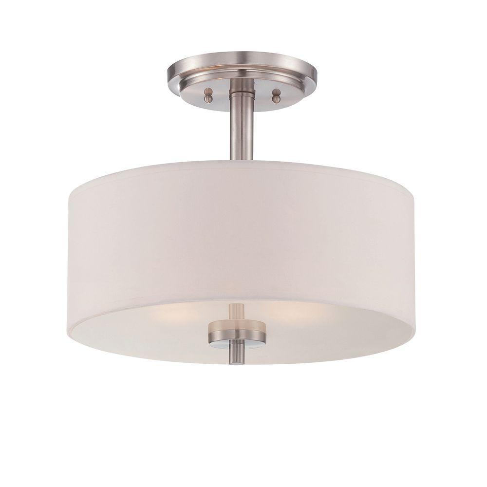Harlowe 2-Light Satin Platinum Interior Incandescent Semi Flush Mount