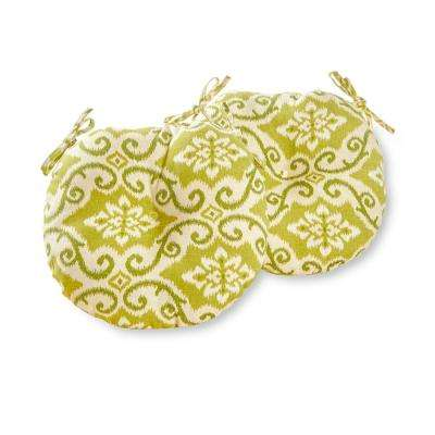 Shoreham Ikat 15 in. Round Outdoor Seat Cushion (2-Pack)