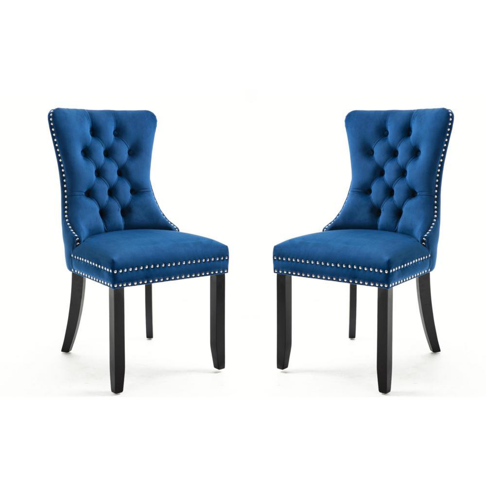 Fantastic Harper Bright Designs Blue Luxurious Velvet Tufted Dining Bralicious Painted Fabric Chair Ideas Braliciousco