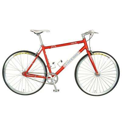 Stage One Vintage Fixie Bicycle, 700c Wheels, Men's Bike, 45 cm Frame in Red