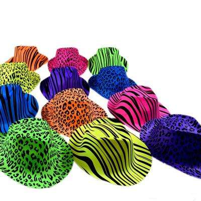 Neon Animal Print Plastic Party Hats - Party Stars Rave Hats for Kids and Teens in Birthday, Music Party (Pack of 24)