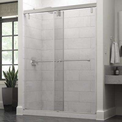 Lyndall 60 x 71-1/2 in. Frameless Mod Soft-Close Sliding Shower Door in Chrome with 3/8 in. (10mm) Clear Glass