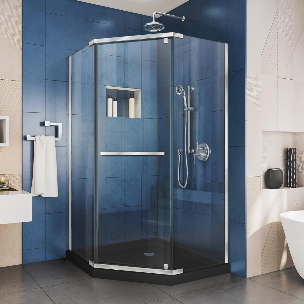 DreamLine Prism 36 in. x 72 in. Frameless Pivot Neo-Angle Shower Enclosure in Chrome with Neo-Angle Shower Base