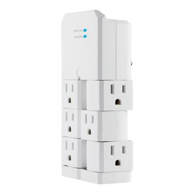 6-Outlet Pro Surge Protector Tap with Swivel Outlets, White