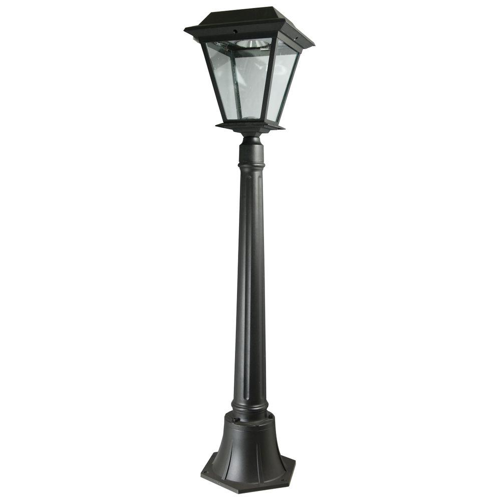 Xepa stay on whole night 300 lumen 42 in outdoor black solar led lamp post spx413 the home depot for Solar exterior post lantern light