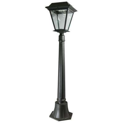 Stay On Whole Night 300-Lumen 42 in. Outdoor Black Solar LED Lamp Post