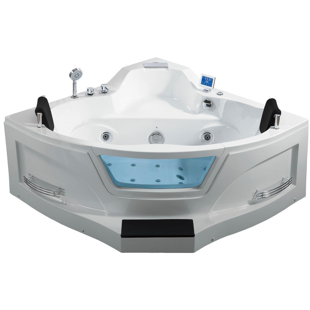 5 ft. Center Drain Corner Alcove Whirlpool Bathtub in White
