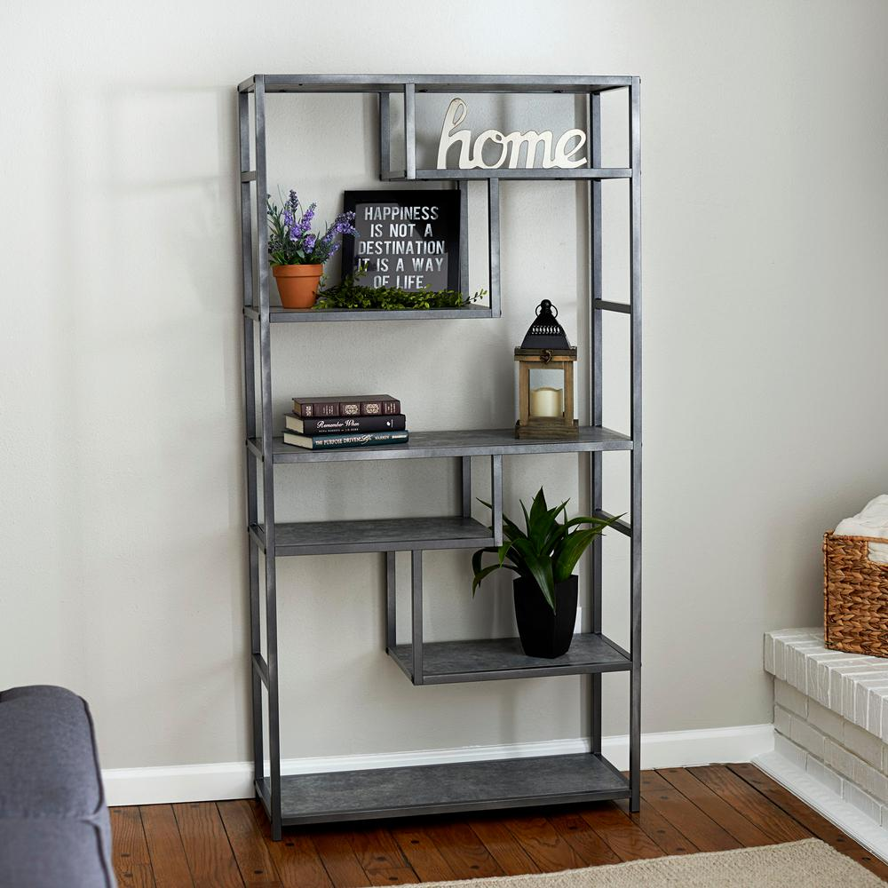 Household Essentials 65 In Gray Black Metal 6 Shelf Etagere Bookcase With Open Back 8090 1 The Home Depot