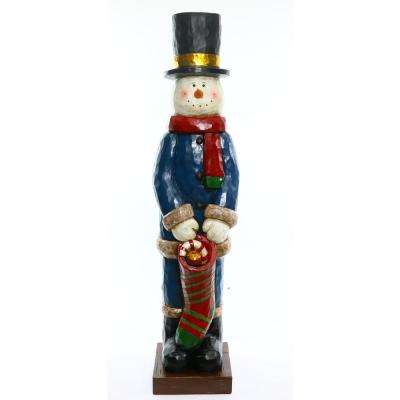 Snowman with Christmas Stocking Statue