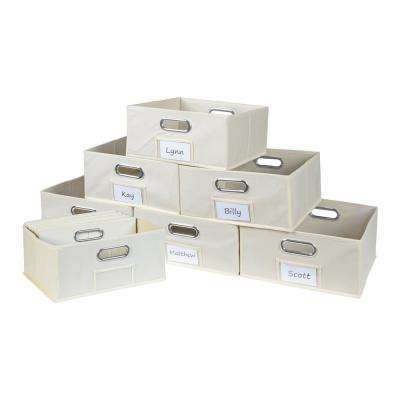Cubo 12 in. W x 6 in. H Beige Folding Fabric Bin (12-Pack)