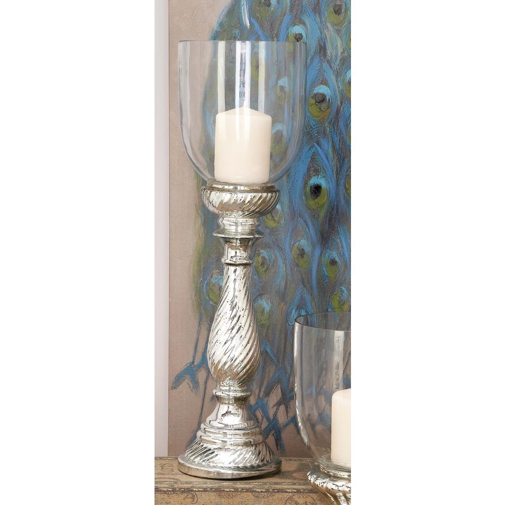 Tarnished Silver Glass Pedestal Hurricane Candle Holder