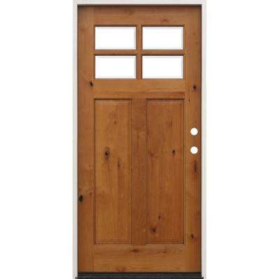 36 in. x 80 in. Golden Oak Left-Hand Inswing 4-Lite Clear Beveled Insulated Glass Stained Alder Prehung Front Door