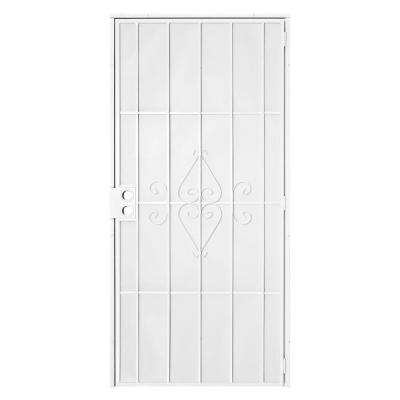 32 in. x 80 in. Su Casa White Surface Mount Outswing Steel Security Door with Expanded Metal Screen