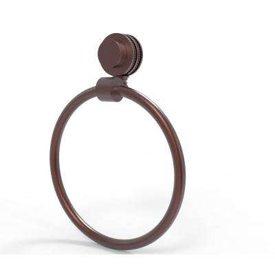 Venus Collection Towel Ring with Dotted Accent in Antique Copper