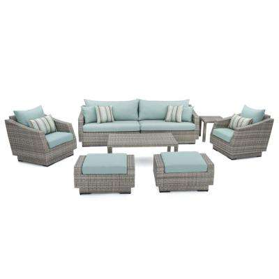Cannes 8 Piece Patio Seating Set With Bliss Blue Cushions Part 98