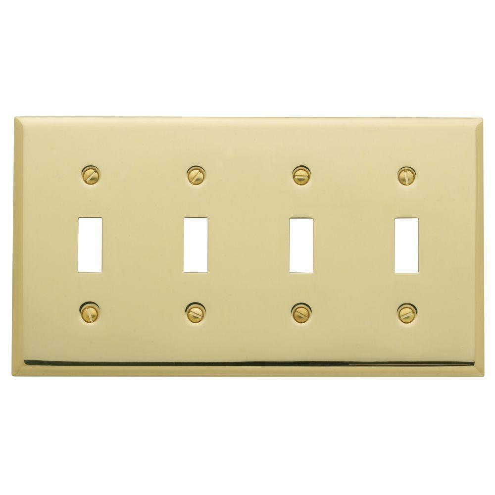 Beveled Edge 4 Toggle Wall Plate - Polished Brass