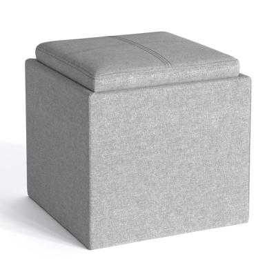 Rockwood 17 in. Wide Contemporary Square Cube Storage Ottoman with Tray in Cloud Grey Linen Look Fabric