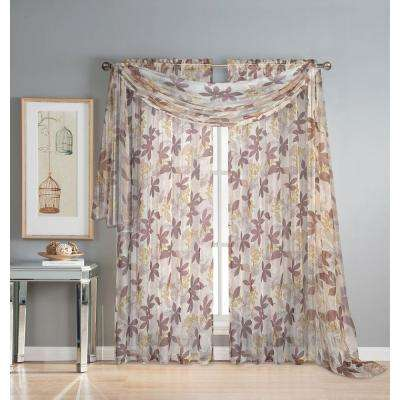 Ashville 54 in. W x 216 in. L Sheer Curtain Scarf in Printed Chocolate