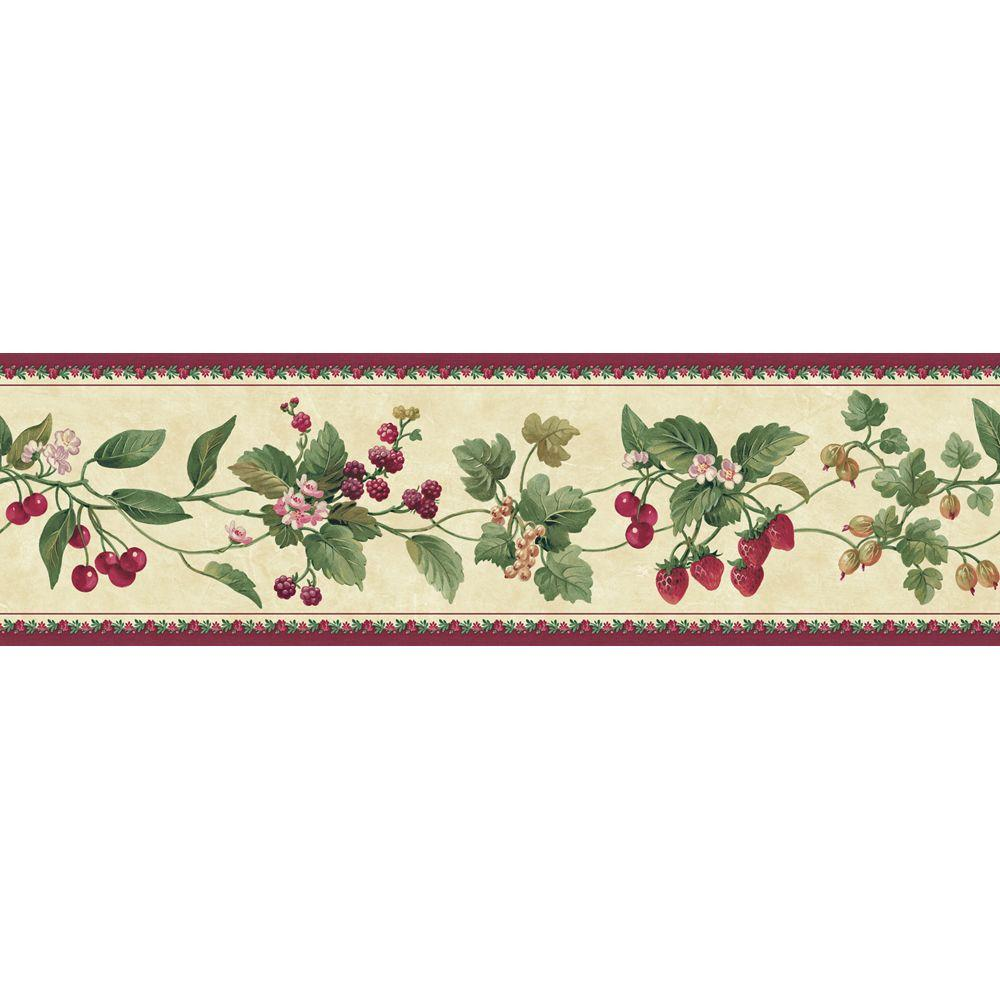 The Wallpaper Company 8 in. x 10 in. Purple Berry and Floral Border Sample
