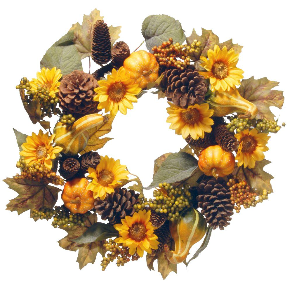 National Tree Company 22 in. Wreath with Pumpkins and Sunflowers