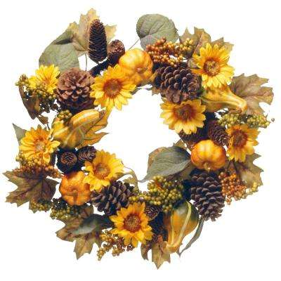 22 in. Wreath with Pumpkins and Sunflowers