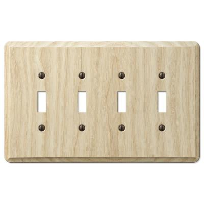 Contemporary 4 Gang Toggle Wood Wall Plate - Unfinished Ash