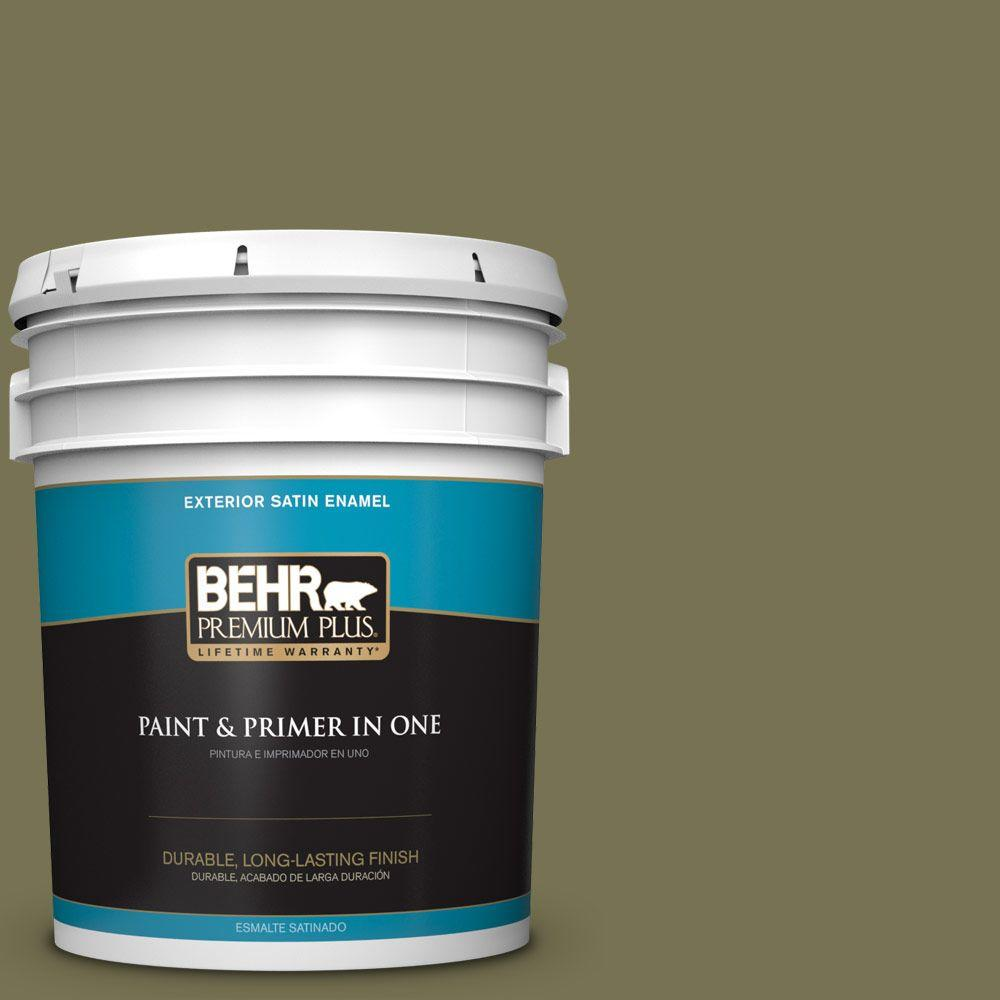 5-gal. #S350-6 Truly Olive Satin Enamel Exterior Paint