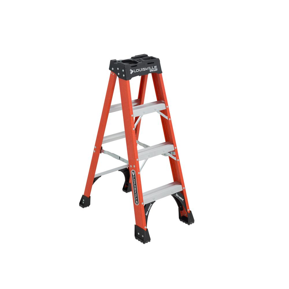 Louisville Ladder 4 ft. Fiberglass Step Ladder with 375 lbs. Load Capacity Type IAA Duty Rating