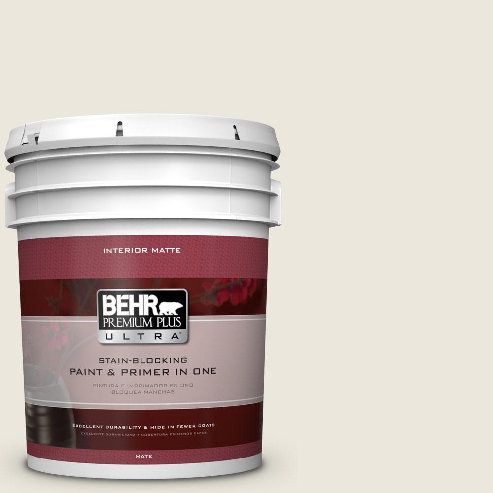BEHR Premium Plus Ultra 5 gal. #BXC-32 Picket Fence White Matte Interior Paint