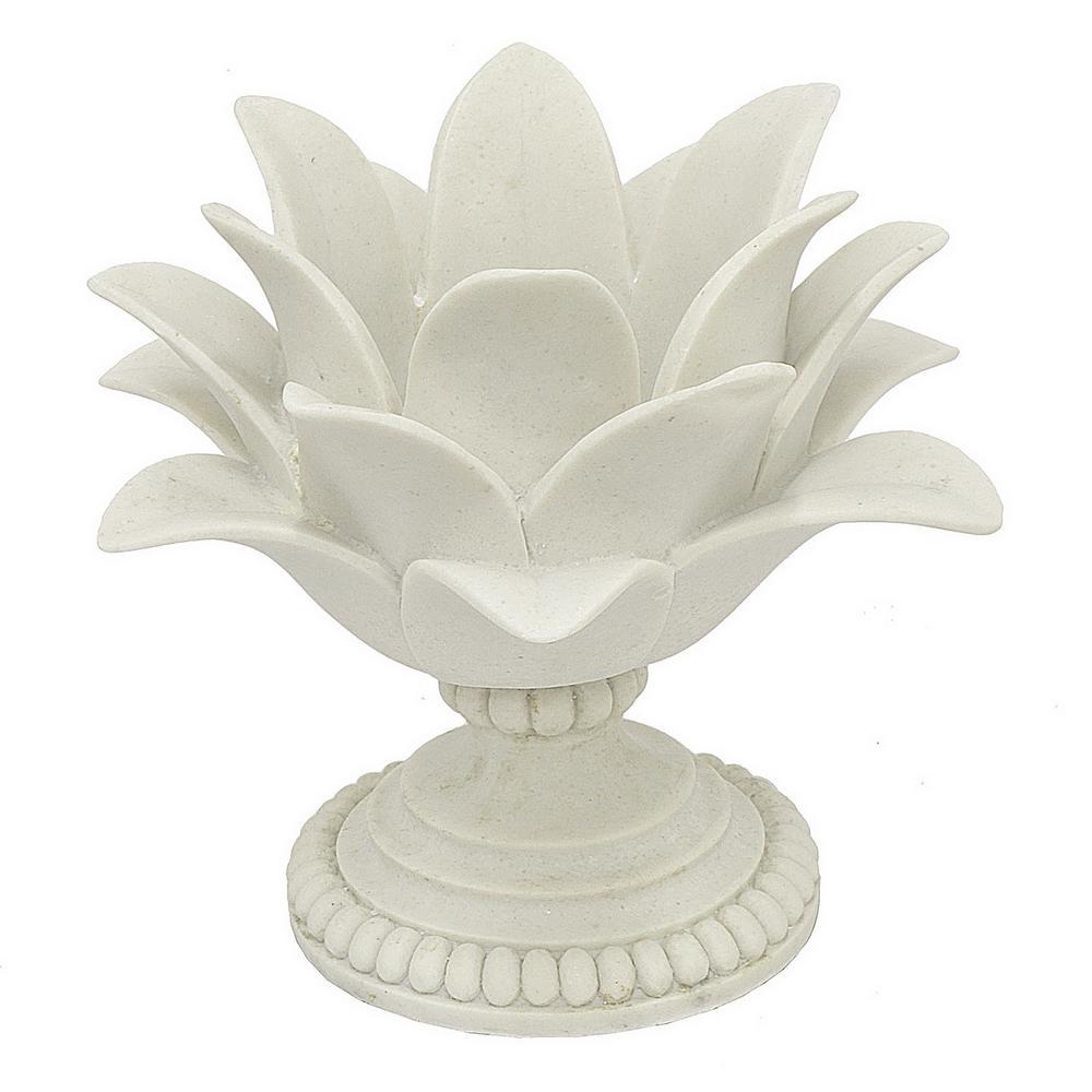7.5 in. Decorative White Resin Lotus Flower Votive Holder in White
