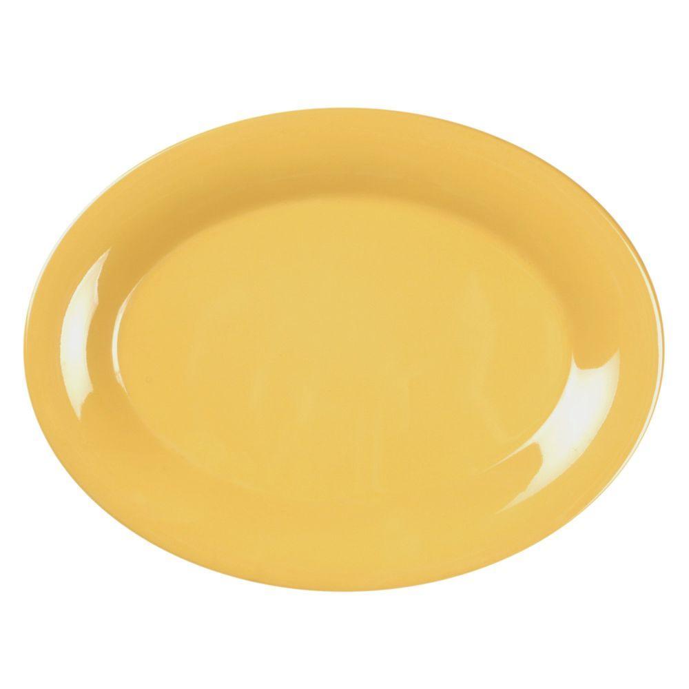 Restaurant Essentials Coleur 12 in. x 9 in. Platter in Yellow (12-Piece)