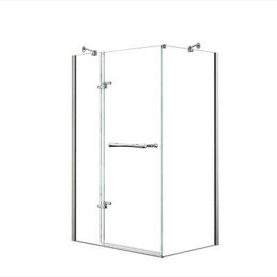 Reveal 48 in. x  71.5 in. Frameless Corner Pivot Shower Enclosure in Chrome with Handle