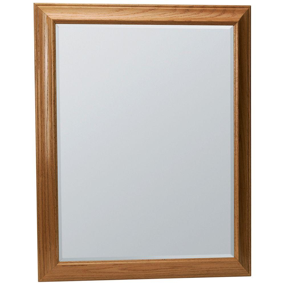 Glacier Bay Hampton 29 in. x 35 in. Framed Vanity Mirror in Oak ...