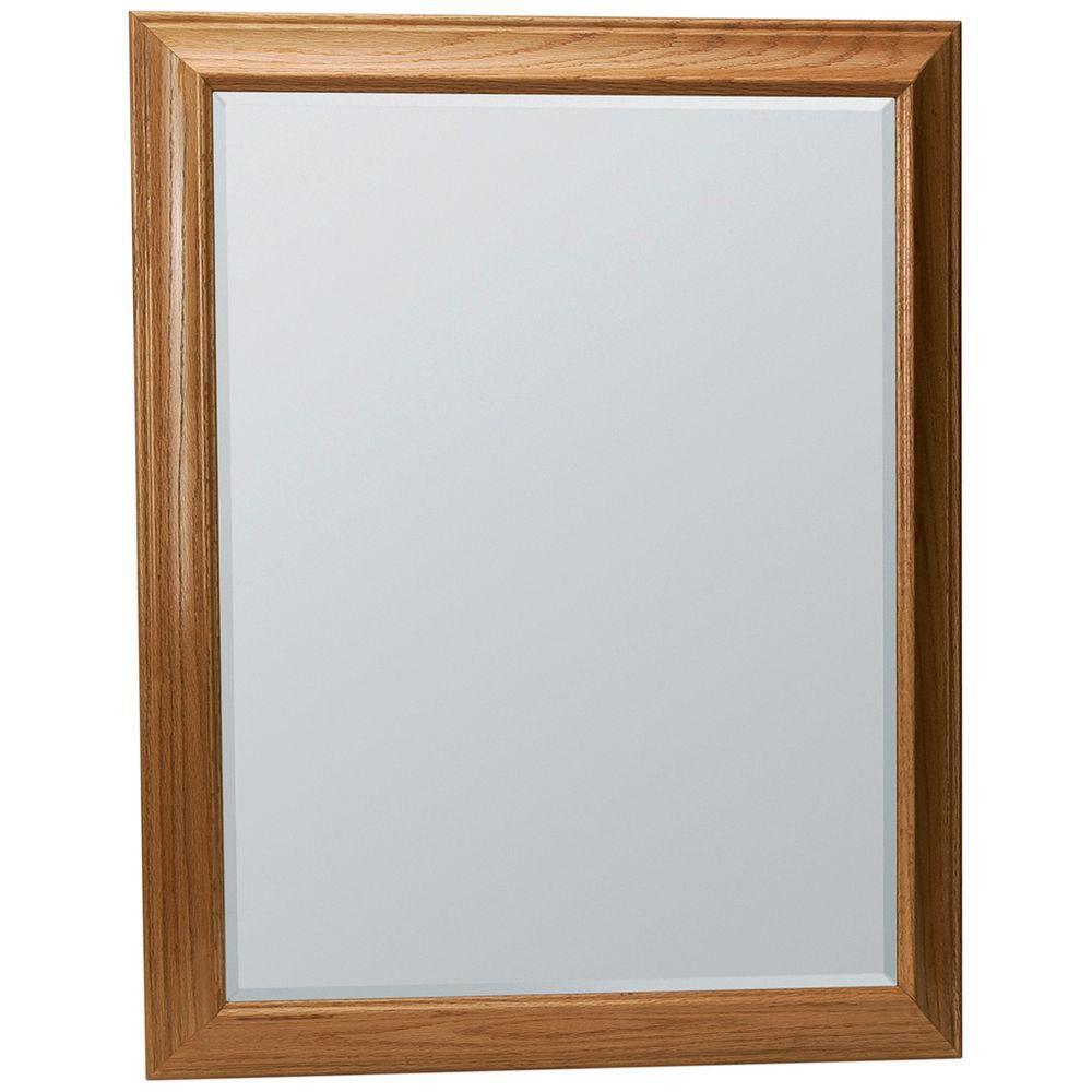 Glacier Bay Hampton 29 in. x 35 in. Framed Vanity Mirror in Oak ...