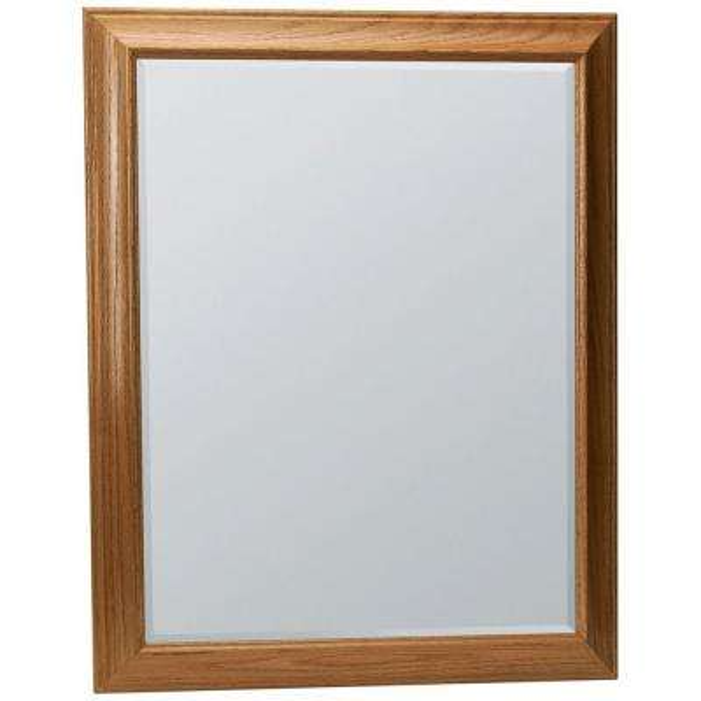 Hampton 29 in. x 35 in. Framed Vanity Mirror in Oak