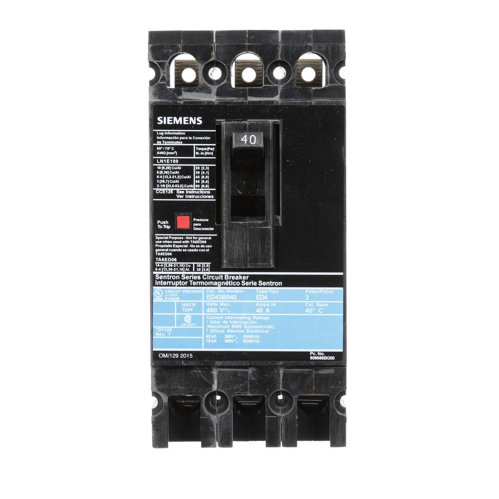 Sie 40 Amp Triple Pole Type CQD Cable In Cable Out DIN Rail ... Panelboard Wiring Schematic Vac on power wiring, subpanel wiring, load center wiring, septic tank wiring, swimming pool wiring, lighting wiring,
