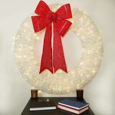 36 in. Pre-Lit White and Red Christmas Wreath