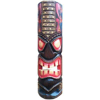 20 in. Tiki Mask Hawaiian Dot Art Wood Wall Decor