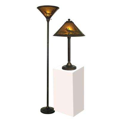 Wilderness 23 in. and 70 in. Antique Bronze Table and Torchiere Lamp Set with Mica Shade