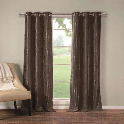 Hastings 36 in. x 84 in. L Polyester Blackout Curtain Panel in Chocolate (2-Pack)