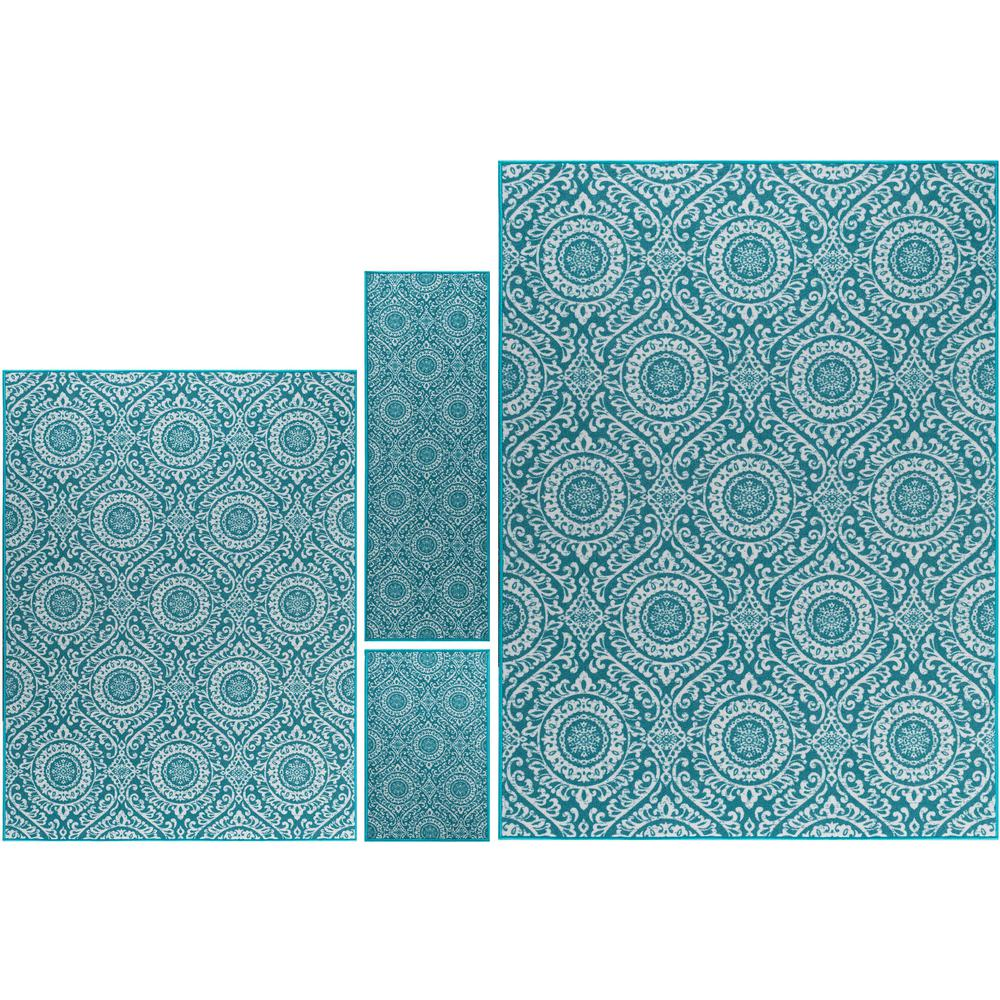 Tayse Majesty Teal (Blue) 7 ft. 6 in. x 9 ft. 10 in. 4-Pi...