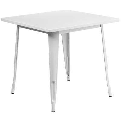 White Square Metal Outdoor Bistro Table