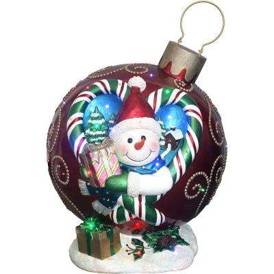 28.5 in. Christmas Musical Snowman Ornament in Red with Long-Lasting LED Lights