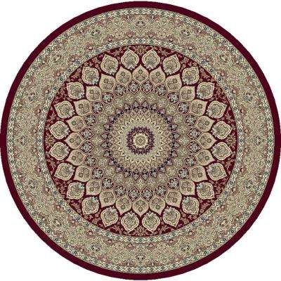 Ancient Garden Red 5 ft. Round Area Rug