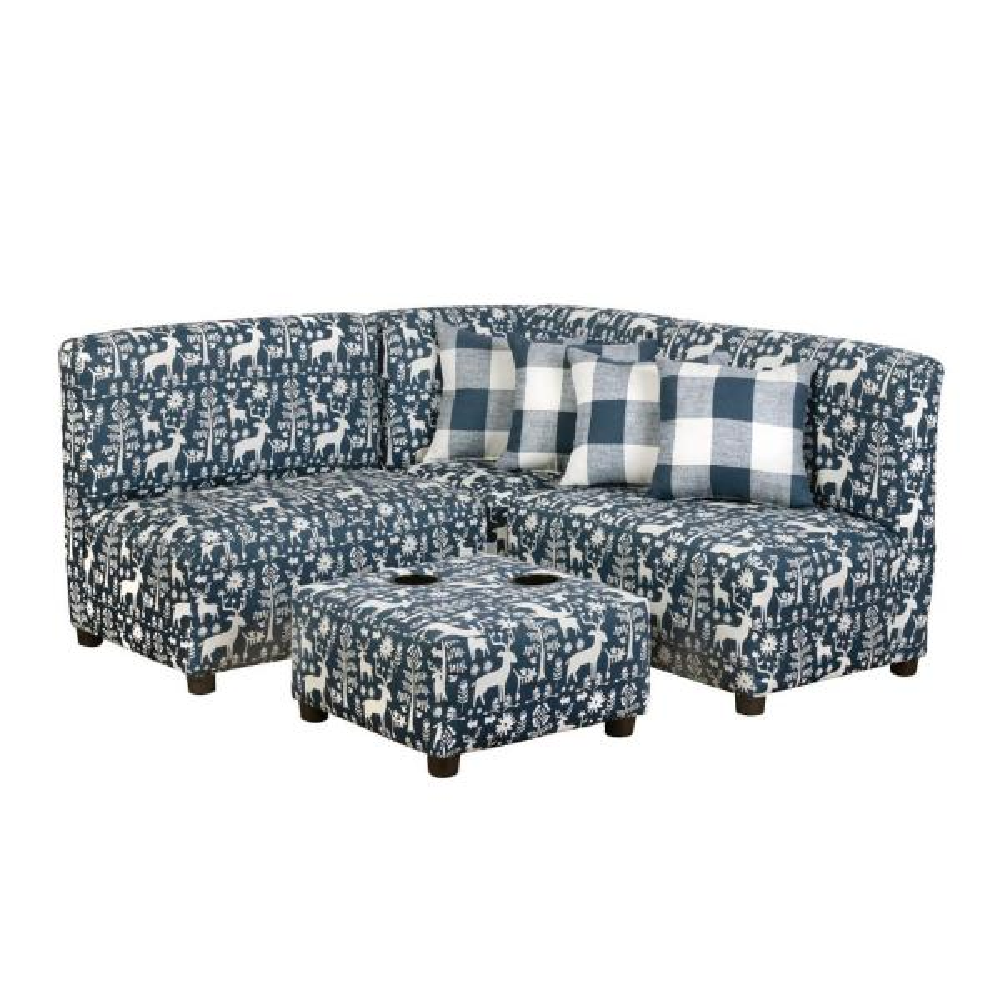 Jack Juvenile Kids Navy Blue and White Upholstered Sectional Sofa Set