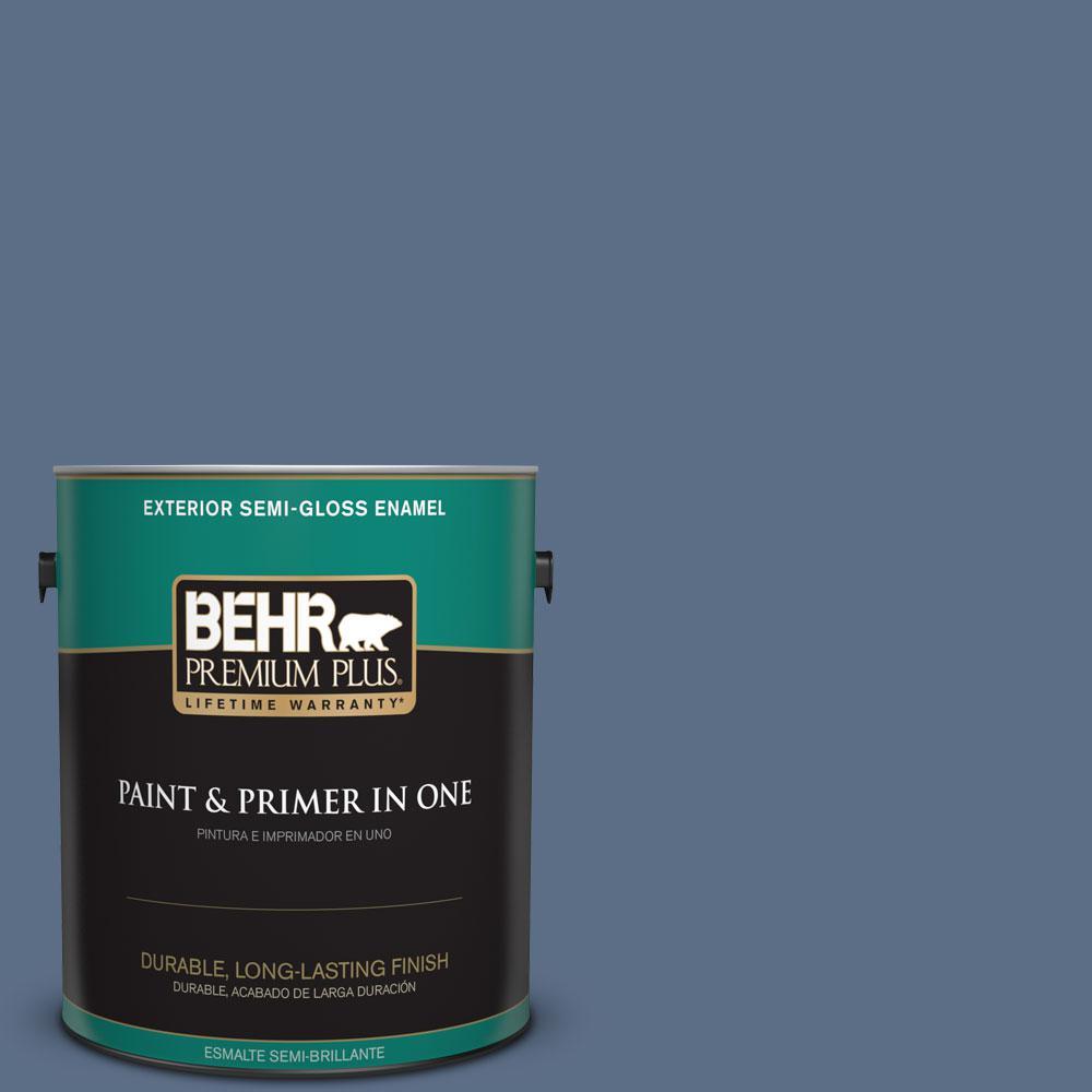 1-gal. #ECC-57-3 Always Indigo Semi-Gloss Enamel Exterior Paint