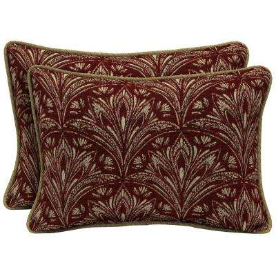 Royal Zanzibar Berry Oversize Lumbar Outdoor Throw Pillow with Welt (2-Pack)