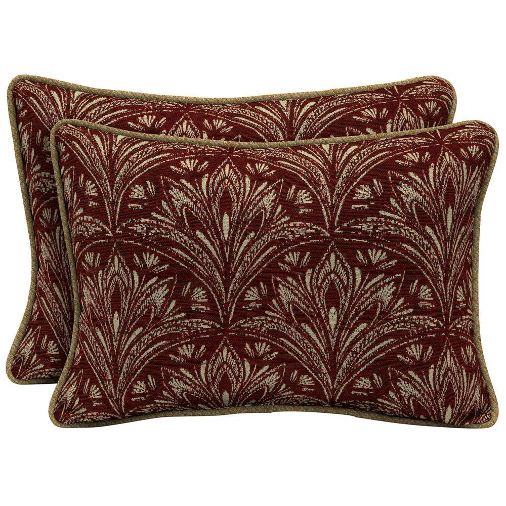 Royal Zanzibar Berry Oversize Lumbar Outdoor Throw Pillow with Welt (2-Pack)